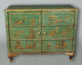 Asian Inspired Two Door Hand Painted Chest