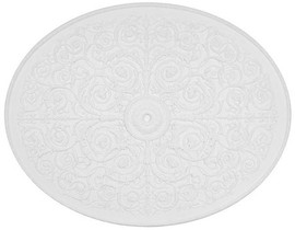 """Architectural Accents Floral Filigree, Oval White Decorative Ceiling Medallion, 67.5"""" x 53.5"""" X 1.5"""" thick"""