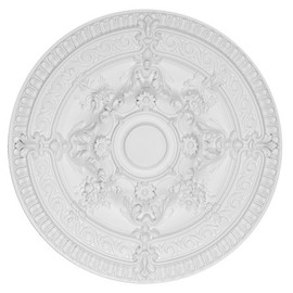 """Architectural Accents Rose Scroll, Round White Decorative Ceiling Medallion, 26"""" Diameter X 2.5 thick"""