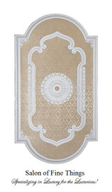 """Architectural Accents White & Damask, Oblong Decorative Ceiling Medallion, 94""""L x 51""""w x 3"""" thick"""