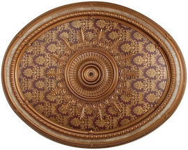 """Architectural Accents - Burgundy & Gilt Floral & Brocade 1284, Oval Decorative Ceiling Medallion - 79""""L x 63""""w x 3"""" thick"""