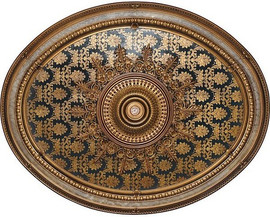 """Architectural Accents - Blue Black & Gilt Brocade, 1283 Oval Decorative Ceiling Medallion - 79""""L x 63""""w x 3"""" thick"""
