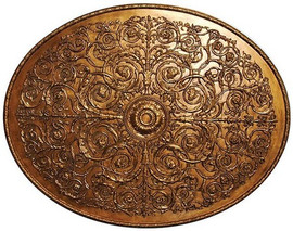 """Architectural Accents Gold Scroll Relief - 1281 Oval Decorative Ceiling Medallion - 67.5""""L x 53.5""""w x 1.5"""" thick"""