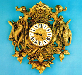 """20.85"""" Wall Clock, Hunting and Fishing Theme, French Gold Gilt Patina - Handmade Reproduction of a 17th, 18th Century Dore Bronze Antique, 6698"""
