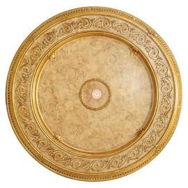 "Architectural Accents Filigree Scroll - 1277 Round Cream & Gilt Decorative Ceiling Medallion - 50"" Diameter X 3"" thick"