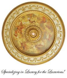 """Architectural Accents - 63"""" Diameter x 3"""" thick, Round Parcel Gilt Michelangelo's Sistine Chapel 1276 Decorative Ceiling Medallion"""