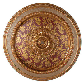 "Architectural Accents - Burgundy & Gilt Brocade 47"" Diameter x 3"" thick, 1274 Round Decorative Ceiling Medallion"