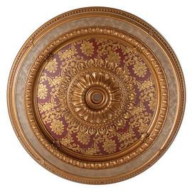 "Architectural Accents - Burgundy & Parcel Gilt Brocade 47"" Diameter x 3"" thick, 1274 Round Decorative Ceiling Medallion"