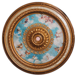 """Architectural Accents - Gilt & Blue Sky - Angelic Putti 98.5"""" Diameter x 3"""" thick, 1271 Round Decorative Ceiling Medallion"""