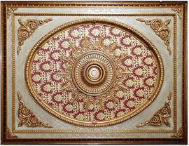 "Architectural Accents - Burgundy & Gilt Brocade 1270, Rectangular Decorative Ceiling Medallion - 94""L X 70.5""w X 3"" thick"
