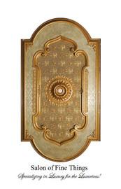 "Architectural Accents Floral Relief, 1269 Gilt & Damask Oblong Decorative Ceiling Medallion, 7'10""L x 4'3""w x 3"" Thick"