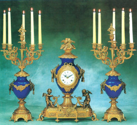"#2403 Porcelain 23"" Candelabra and 21"" Clock - Bespoke"