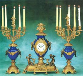 """#2403 Porcelain 23"""" Candelabra and 21"""" Clock - Bespoke"""