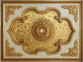 "Architectural Accents, Gilt Floral Relief Rectangular Decorative Ceiling Medallion, 62.5""L X 47""w X 3"" Thick"