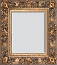 """French Rococo Louis XV Beveled Edge Antique Gold Large Mirror - Scalloped Shell and Floral, 53""""t x 43""""w - Wide 6.50"""" Carved Frame, 1222"""
