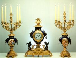 """36505 Porcelain 23"""" Candelabra and 21"""" Clock - Bespoke"""