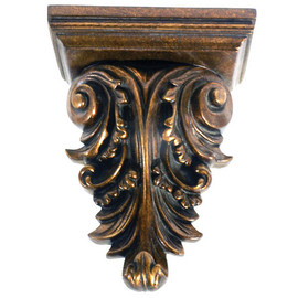 """Architectural Accents 12"""" Burnished Parcel Gilt Acanthus Decorative Wall Bracket Sconce"""