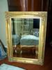 "French Baroque Louis XIV Style, 5.25"" Wide Frame, 51"" Large Soft Gold Leaf Drama Bevel Glass Mirror"