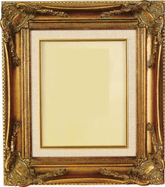Louis XIV Wide Baroque Style 8 X 10 Photo Frame, Gold Frame with Linen Liner