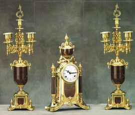 """Antique Style French Louis Garniture, Colle Mandina, Rose Red Italian Marble & Brass Ormolu Mantel, Table Clock, 22.83"""", Five Light Candelabra Set, French Gold Gilt Patina, Handmade Reproduction of a 17th, 18th Century Dore Bronze Antique, 6688"""