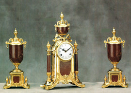"""Antique Style French Louis Garniture, Colle Mandina, Rose Red Italian Marble & Brass Ormolu Mantel, Table Clock, 16.92"""", Cassolette Urn Set, French Gold Gilt Patina, Handmade Reproduction of a 17th, 18th Century Dore Bronze Antique, 6689"""