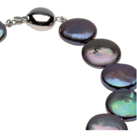 Black Freshwater Cultured Coin Pearl & Sterling Silver Strand Necklace