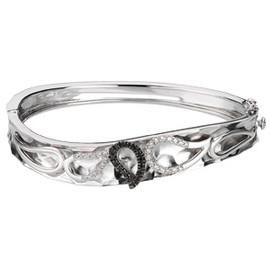 Black & White Diamond Paisley Bangle Bracelet Sterling Silver & 14K Gold