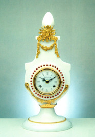 "Bianco Carrara, White Italian Marble & Brass Ormolu, 17.71"" Mantel Clock,French Gold Gilt Patina with Swarovski Crystal Bezel - Handmade Reproduction of a 17th, 18th Century Dore Bronze Antique, 6685"