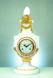"Bianco Carrara, White Italian Marble & Brass Ormolu, 17.71"" Mantel, Table Clock, French Gold Gilt Patina with Swarovski Crystal Bezel - Handmade Reproduction of a 17th, 18th Century Dore Bronze Antique, 6685"
