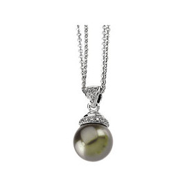 Black Freshwater Cultured Pearl & Gold - Diamond Pendant Necklace