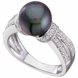 Black Freshwater - Round Cultured Pearl & Gold - Diamond Split Shank Ring