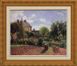 Artists Garden at Eragney - Camille Pissaro - Framed Canvas Artwork