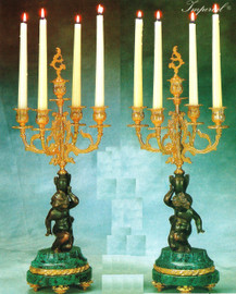 "Verde Delle Alpi Italian Marble & Brass Ormolu, 22.04"", 5 light Candelabra Right & Left Facing Set, French Gold Gilt - Handmade Reproduction of a 17th, 18th Century Dore Bronze Antique, 6680"