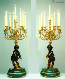 "Verde Delle Alpi Italian Marble & Brass Ormolu, 30.70"" Nine light Candelabra Left & Right Facing Set, French Gold Gilt - Handmade Reproduction of a 17th, 18th Century Dore Bronze Antique, 6679"