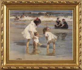 "Children Playing at the Seashore - Edward Henry Potthast - Framed Canvas Artwork 953 28"" X 34"""
