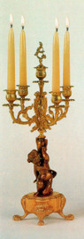 "Polychrome Italian Brass Ormolu, 21.25"", Five light Candelabra Right & Left Facing Set, French Gold Gilt - Handmade Reproduction of a 17th, 18th Century Dore Bronze Antique, 6678"