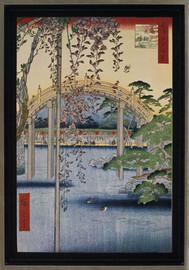 Inside Kameido Tenjin Shrine - Utagawa Hiroshige - Framed Canvas Artwork
