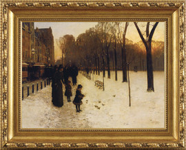 Boston Common at Twilight - Childe Hassam - Framed Canvas Artwork