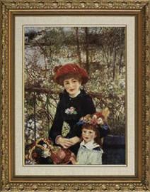 """Deux Soeurs Sur La Terasse - Pierre Auguste Renoir - Framed Canvas Artwork 16CB 28"""" x 34"""""""