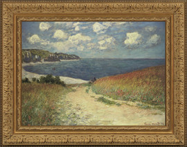 Chemin Dans les Bles a Pourville - Claude Monet - Framed Canvas Artwork