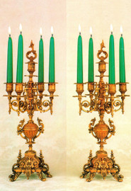 "Brass Ormolu,, 19.68"" Five light Candelabra Set, French Gold Gilt Patina - Handmade Reproduction of a 17th, 18th Century Dore Bronze Antique, 6668"