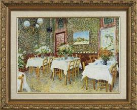 "Interior of a Restaurant - Vincent Van Gogh - Framed Canvas Artwork - Larson Juhl Moulding 821 27"" x 22"""