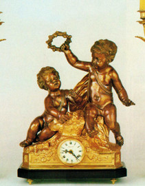 Ornate d'Oro Ormolu - Desk, Playful Children Mantel, Table Clock - Choose Your Finish - Handmade Reproduction of a 17th, 18th Century Dore Bronze Antique, 6669
