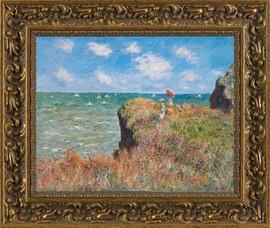 Cliffwalk, Pourville - Claude Monet - Framed Canvas Artworkonly 1 size available
