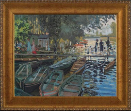 Bathers at la Grenouillere - Claude Monet - Framed Canvas Artworkonly 1 size available