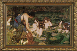 """Hylas and the Water Nymphs - John William Waterhouse - Framed Canvas Artwork 766 28.75"""" X 44.75"""""""