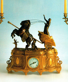Ornate d'Oro Ormolu - Desk, Mantel, Table Clock - Choose Your Finish - Horse Drawn Egyptian Chariot - Handmade Reproduction of a 17th, 18th Century Dore Bronze Antique, 6659