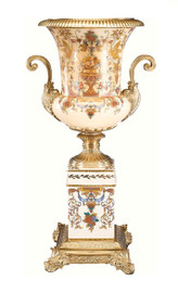 Luxe Life Abundant Harvest Pattern, Luxury Hand Painted Porcelain and Gilt Bronze Ormolu, 25.75 Inch Trophy Cup Vase with Plinth Hand Made in Italy by Father & Son, Artists