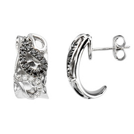 Black & White Diamond Paisley Design Earrings Sterling Silver & 14K Gold