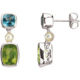 Sterling Silver, Freshwater Cultured Pearl, Swiss Blue Topaz, & Peridot Earrings